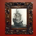 Sarah ContosMullein, Echeveria, Lilies and Barry, 2012pen on found paper, Balinese carved frame