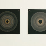Ben Denham  Variable speed spiral no. 5a (grey), no. 1a (grey), 2016  445nm laser on paper Six works: 20 x 20 cm (each)