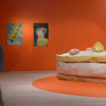 Cheese Pervert and Swiss Cheese Model, 2016 Oil on canvas, 75 x 40 cm Installation view: Contemporary Art Tasmania, Hobart: with Sean Kerr (left) and Petra Maitz's work.  Photo credit: Sean Kerr
